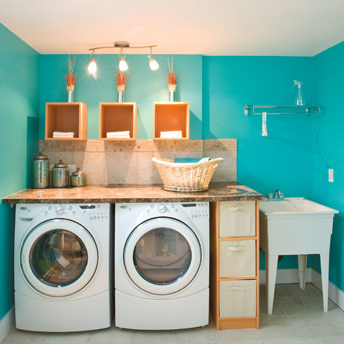 Vibrant laundry room with storage and laundry tub