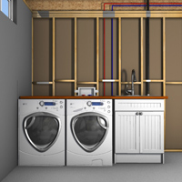 Position your dryer, washer, and laundry sink