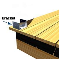 Metal post brackets provide a sturdy support for a pergola.