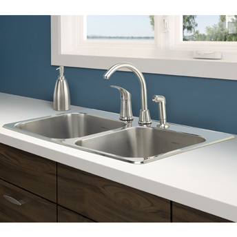 Double-bowl stainless-steel sink, drop-in installation