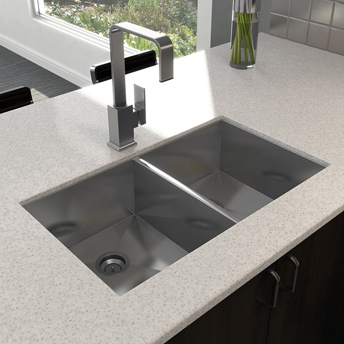 Deep double-bowl stainless-steelsink, undermount installation