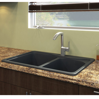 "Double-bowl ""Anthracite"" granite sink"