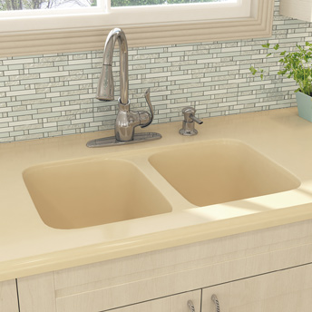 Double-bowl sink integrated with countertop