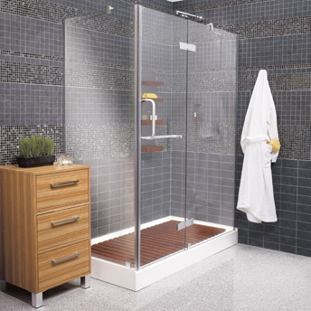 Some preformed shower bases can support  showers with heavy glass panels on three sides.
