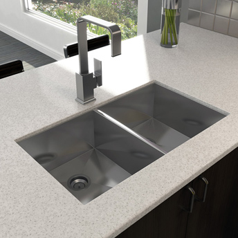 Double-bowl stainless-steel sink under solid-surface countertop