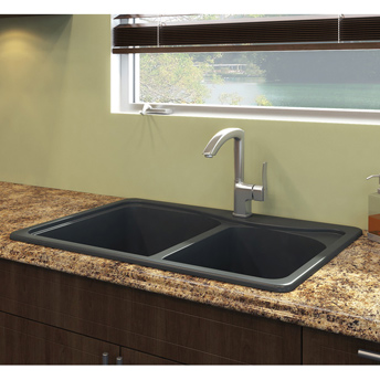 Black kitchen sink on laminate countertop