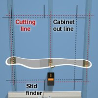 Mark the cabinet outline and cutting lines.
