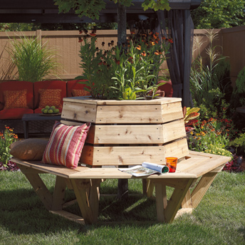 Hexagonal cedar bench-global village style