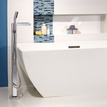Floor-mount bathtub faucet