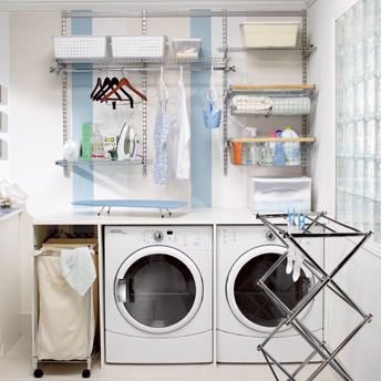 Build a work counter above the washer and dryer to make the best use ...