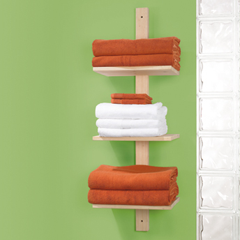 Wall-mount towel shelf unit for the bathroom