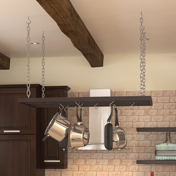 Practical pot rack hanging in the kitchen