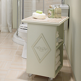 Service cart with casters and a ceramic tile top