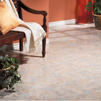 Lay vinyl or linoleum flooring