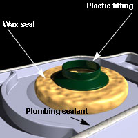 The wax seal should be pressed down evenly around the toilet drain hole.