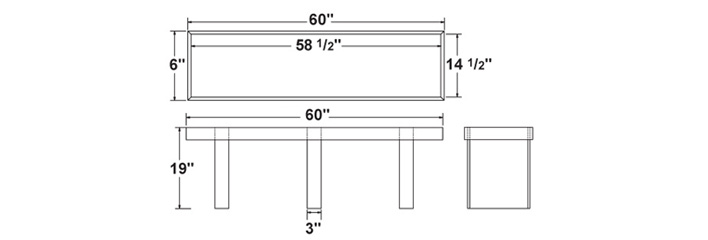 Elevation for a kitchen bench