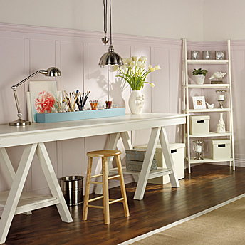 Art trestle table with shelving unit