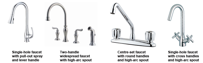 Various types of faucet handles