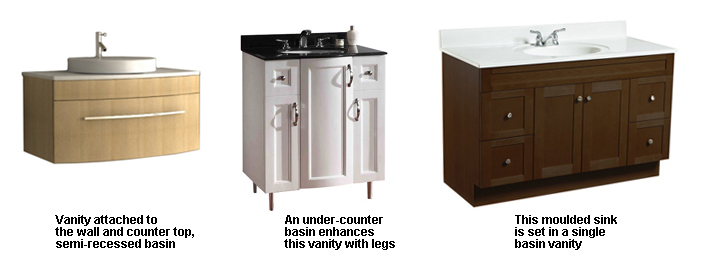 Standard basin vanities, with leg or wall mounted