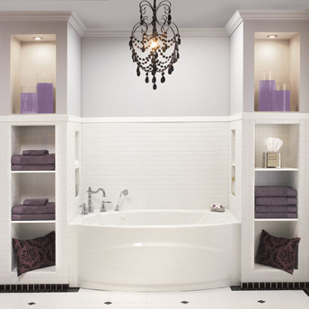 Illuminated shelves on either side of the bathtub