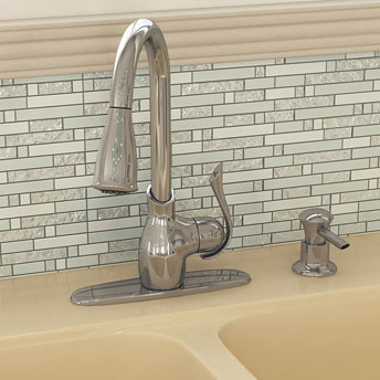 Pullout spray kitchen faucet