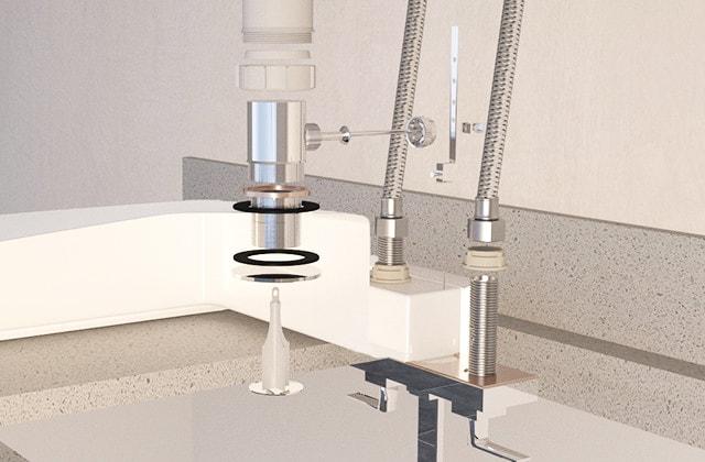 Installing A Vanity Sink.Drop The Bathroom Sink Into The Vanity Countertop Rona