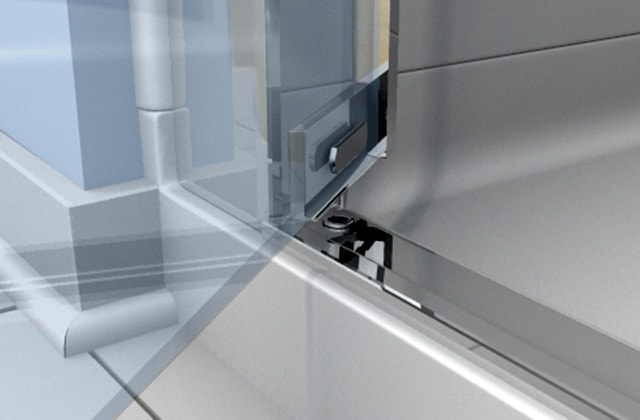 Install a new shower with a base, wall panels and pivot door