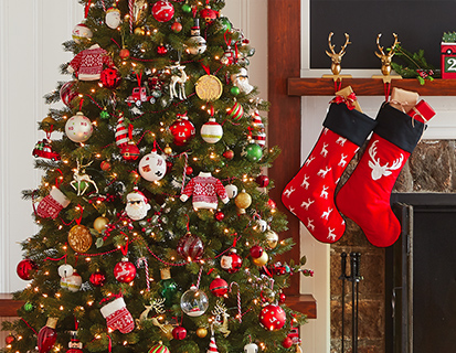 Arbre de Noël en bois cabane de Noël Stocking salle de bains Rideau de douche