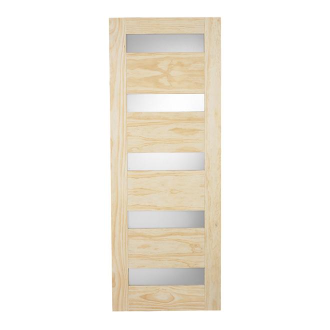 Porte fran aise en pin 5 panneaux 30 x 80 po naturel for Porte 5 panneaux