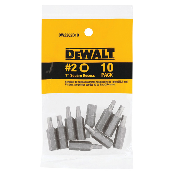 Square Screwdriver Bit #2 x 1 in - Pack of 10