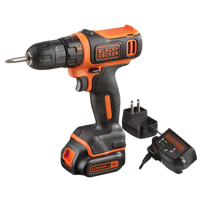 "Cordless Drill - Lithium-ion 12 V- 3/8""- Black/Orange"