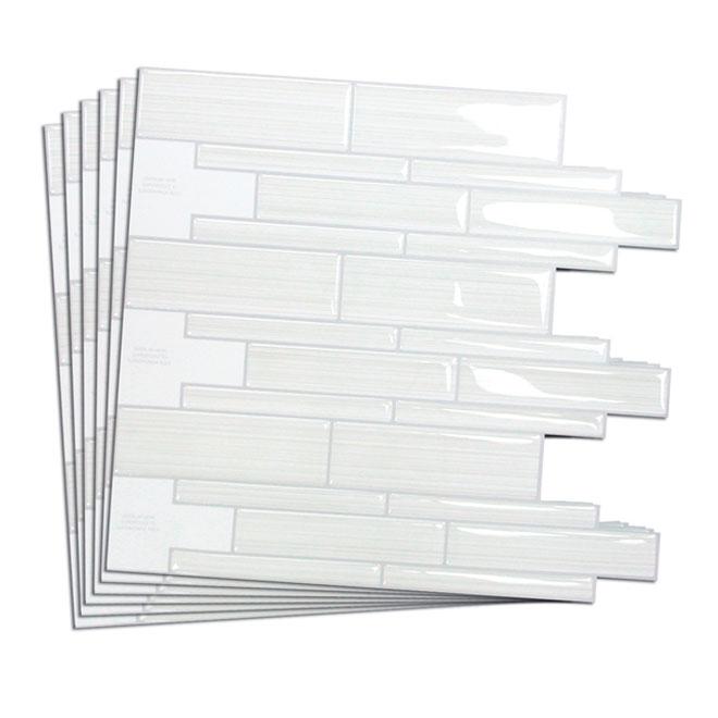 Tuile murale autocollante blanco pqt 6 rona - Mosaique autocollante pour cuisine ...