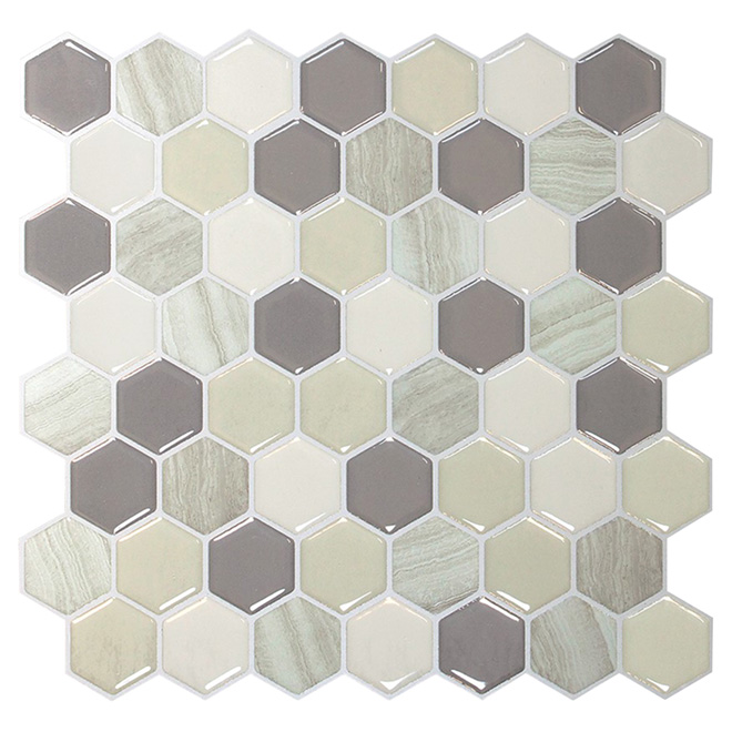 Self-Adhesive Wall Tile - Hexagon Greige - Dual Finish - 6-Pack
