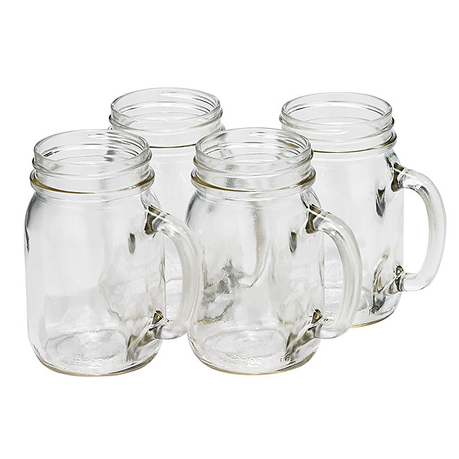 Drinking Jars - Set of 4 - 16 oz - Clear