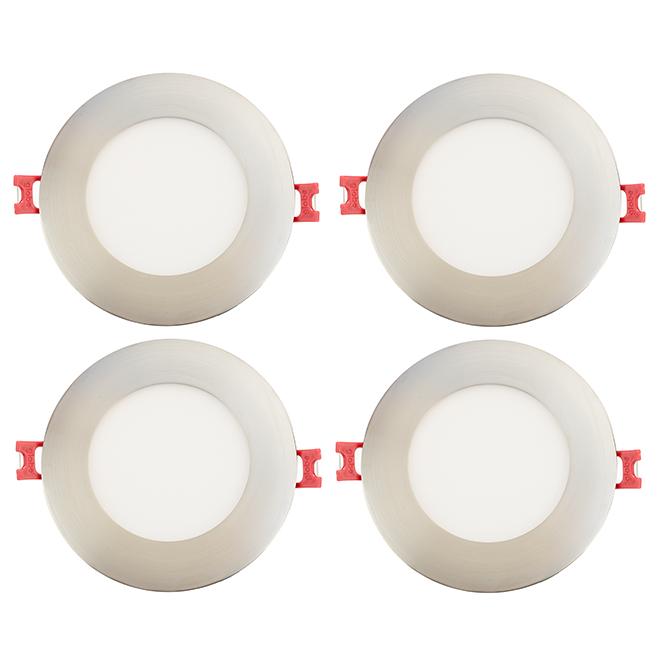 Dimmable Recessed Lights - Slim - 9W LED - Br. Nickel - 4/Pk