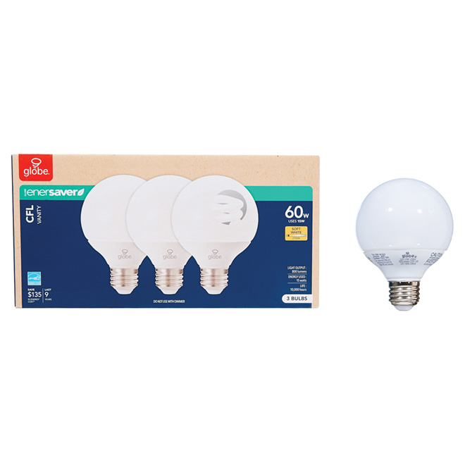 15W Compact Fluorescent T3 Type G Bulb - 120V - 3 Pack
