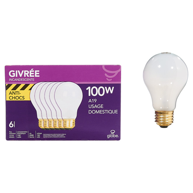 Ampoule incandescente anti-chocs A19, 100W - Paquet de 6