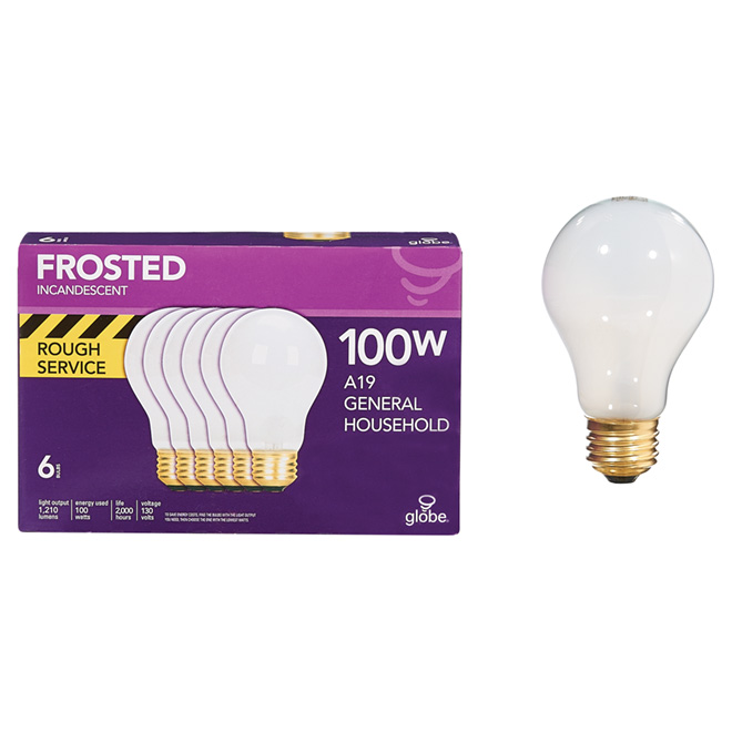 Rough Service Incandescent Bulb, A19, 100W - Pack of 6