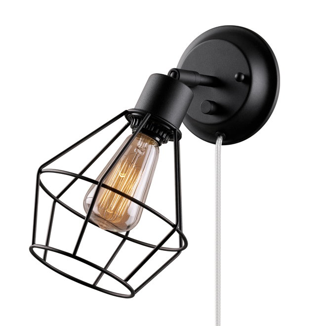 1-Light Pivoting-Shade Wall Sconce - Black