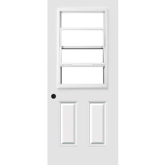 Porte d 39 entr e avec fen tre guillotine 34 x 80 blanc for Petite fenetre sur mesure