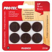 Self-Adhesive Medium-Duty Felt Pads - Round - 3/4