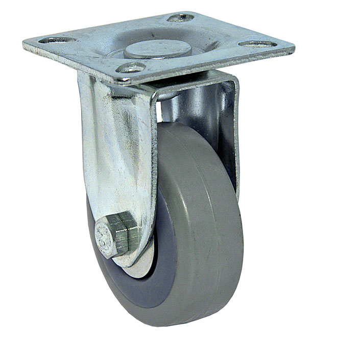 Grey Rubber Plate Rigid Caster - 88 lbs Capacity - 2""