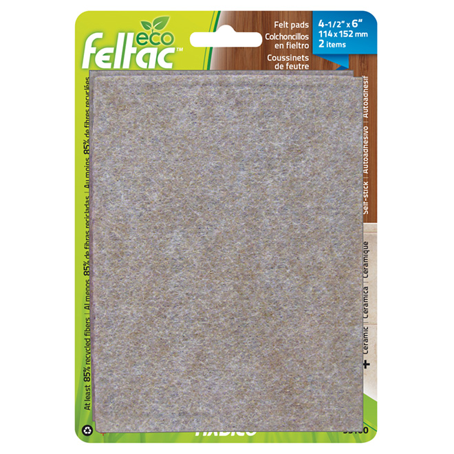 "Self-Adhesive Felt Pads - Eco - Sheet - 4 1/2"" x 6"" - 2/Pk"