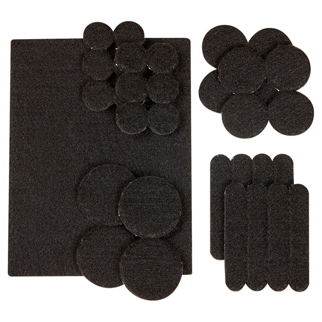 Self-Adhesive Felt Pad Multipack - Eco - Black - 33/Pk