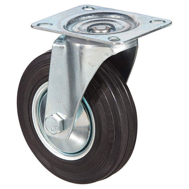 Euro Series Rubber Plate Swivel Caster - 220 lbs Cap. - 5""