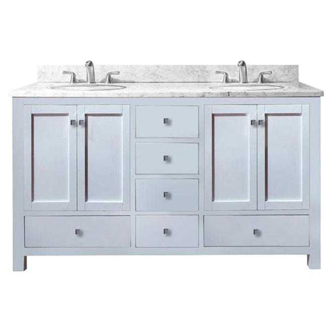 Double vanity malaga flat white rona for Armoire salle de bain rona