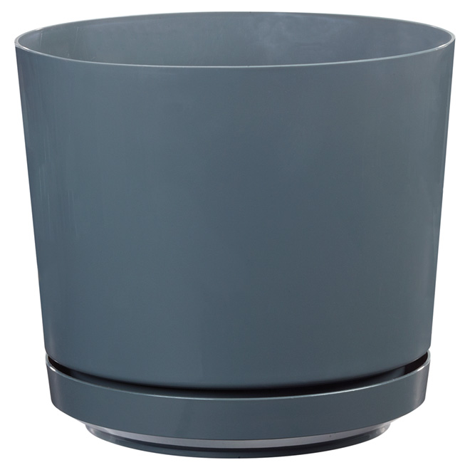 "High-Gloss Planter Pot - ""Dynamic Design"" - 10"" - Grey"