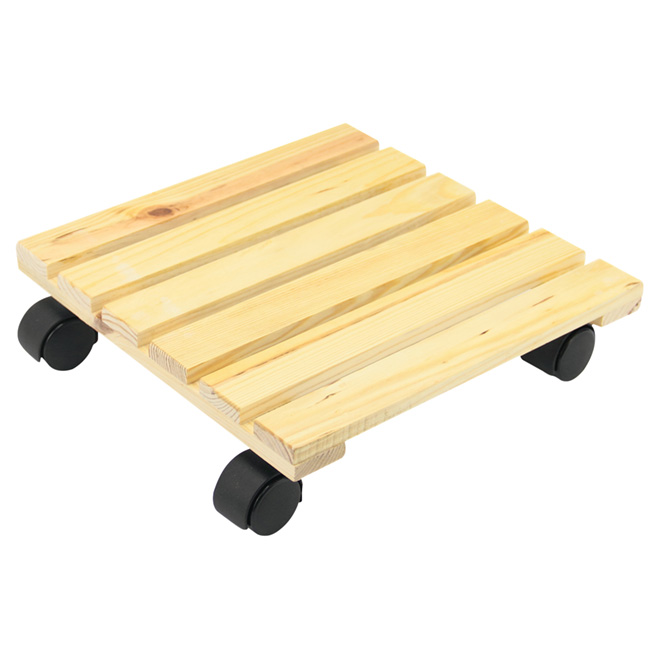 Plant Dolly - Square - Natural Wood - 11 3/4""