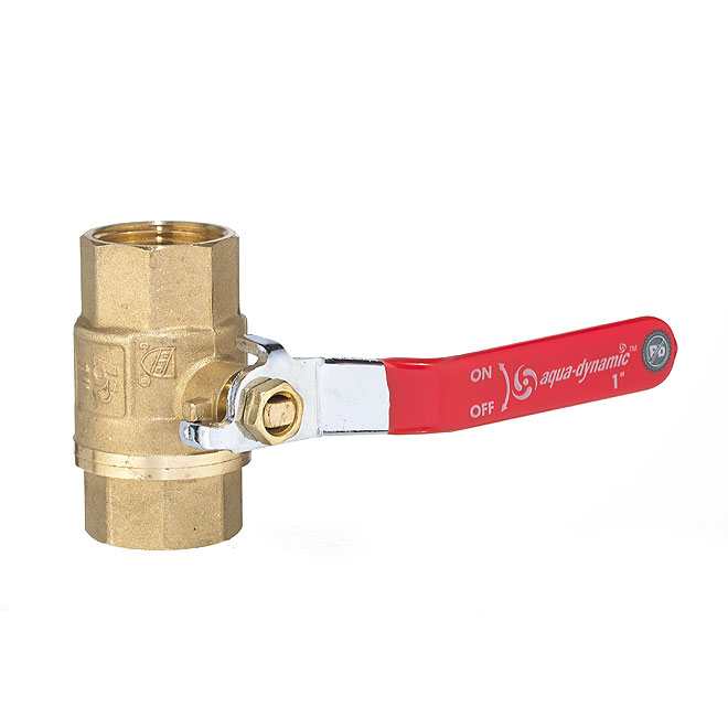 "Ball Valve - Straight Handle - Forged Brass - 1"" Threaded"