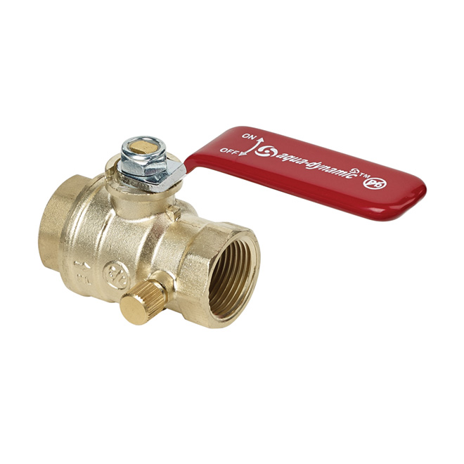 Ball Valve - Drain and Straight Handle - Forged Brass - 3/4""